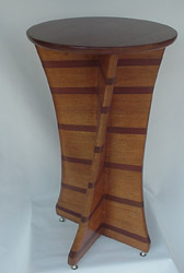 "Serpentine Pedestal made of Oak & Purpleheart.  36"" tall x 20"" dia. top.  $1,395"
